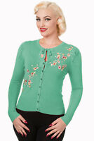 Women's Turquoise Floral Embroidery Vintage 1950's Retro Cardigan Banned Apparel