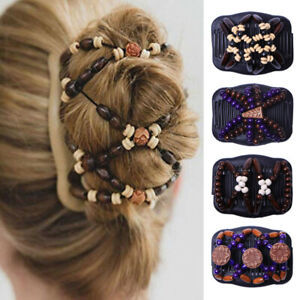 Women Wood Beads Hair Comb Ladies Hairpin Hair Clip Double Slide Stretch Retro