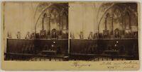 Bayeux Sala Capitolo Francia Foto Stereo Vintage Citrato c1900