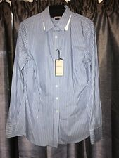 "Thomas Pink Ladies ""Flower"" Blue/ White Stripped Tailored Casual/Office Shirt 12"