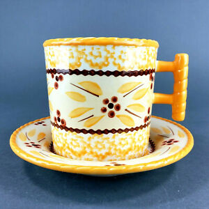 Temptations Coffee Mug Cup and Saucer Old World Yellow by Tara 12 oz