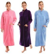 Ladies Button Through Micro Fleece Dressing Gown Robe Nightwear 26-28 Pink