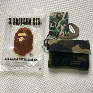 PORTER x A BATHING APE Casual Wallet Green Camo New from Japan F/S