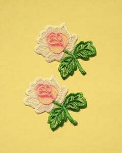 2 Iron On Embroidered Rose Applique - Patch - IR6