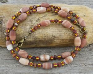 Tribal Rustic Necklace - River Stone & Trade Beads - Boho, Primitive