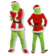Adult Outfit Set The Grinch Costume Xmas Cosplay Mens Christmas Santa Fancy