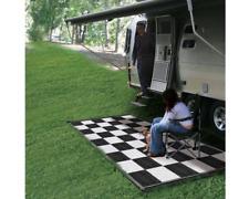 Reversible Plastic RV Mat Outdoor Camping Carpet Rug Checkered Black White 6'x9'