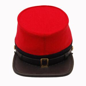 Civil War Confederate Officer's Plain Red leather peak kepi with Black Band
