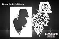Airbrush Schablone Skull n Rose - Totenkopf und Rose