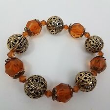 Bracelet Filigree Beaded Orange Brown Gold Tone Stretch Faceted Chunky Statement