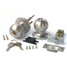 Stainless Steel Round Door Knobs Handle Entrance Passage Lock W/ Key Set SILVER*