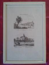 GRAVURE XIXe: NANTES vu de la prairie de Mauves, le Château, Duchesse de Berry
