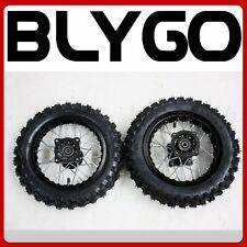 "BLACK 12mm Axle 10"" Inch Front+ Rear Wheel Rim Knobby Tyre Tire PITPRO Dirt Bike"