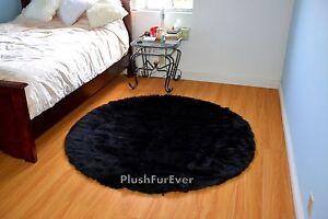 5' Black faux fur rug round area rug plush fur throw home fur decor sheepskins