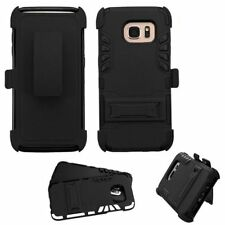 For Samsung Galaxy S7 Edge Black Hard Silicone Hybrid Case Cover w/stand Holster