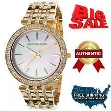 100% Authentic Michael Kors MK3219 Women's Darci MOP Dial Gold Tone Steel Watch
