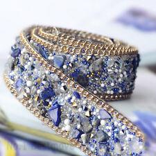50CM Blue Rhineston Beaded Lace Trim Wedding Dress Clothing Decor Iron or Sew on