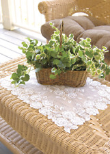 """Set of 2 Heritage Lace White TEA ROSE Placemats 14""""x20"""" - Made in USA!"""