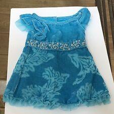 """American Girl 18"""" Doll KANANI PARTY Blue Velvet Dress Only Retired"""