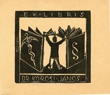 Vintage Medical Ex libris Bookplate by Endre Vadasz, Hungary