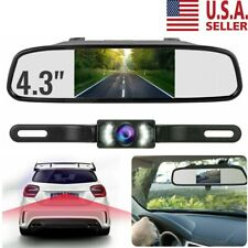 "4.3"" Backup Camera Mirror Car Rear View Reverse Night Vision Parking System Kit"