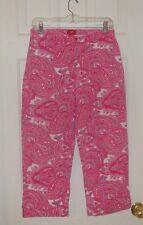 Mossimo Size 9 Paisley Hot Pink/White Cotton/Spandex Women's Capri Pants Jeans