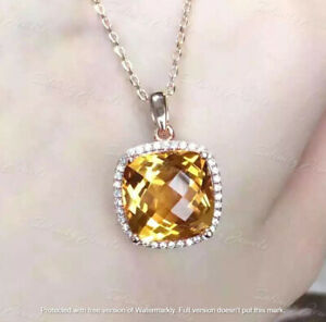"""2.50Ct Cushion Cut Yellow Citrine Halo Pendant 14K Rose Gold Over 18"""" Free Chain"""