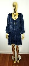 JOIE Tunic Silk Dress Blue Animal Print 3/4 Sleeve Elastic Drop Waist Mini sz M