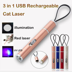 3 in 1 USB Rechargeable Cat Chaser Toy Mini Flashlight Laser Pointer LED Pen