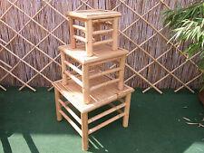 Bambushocker Bambus Bambustisch Beistelltisch Blumenhocker 3 er Hocker  4 eckig