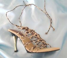 WILD ROSE Shoes Tiger Print Suede Stiletto Heels Animal Print Chris Cross Ties