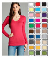 Womens T Shirt V Neck Long Sleeve Cotton Active Basic Layering Size S,M,L USA