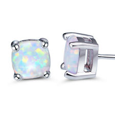 Classic Square 6x6mm White Fire Opal Gems 925 Sterling Silver Stud Earrings