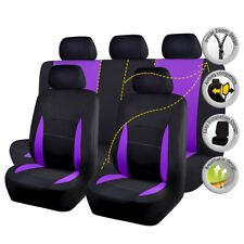 Universal Black Purple Car Seat Covers Full Set Airbag Compatible Seat Cushions