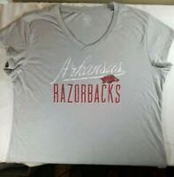 NCAA Arkansas Razorbacks Women's XL (16-18) V-Neck T-Shirt Gray NWT
