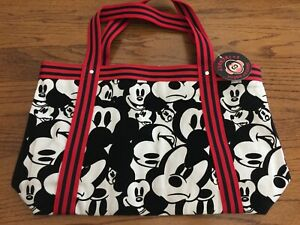 """LLANFA1 + 2""  MEDIUM SIZED RED, BLACK AND WHITE TOTE WITH PLASTIC LINING - NWT"""
