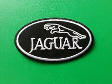 MOTOR RACING CAR SPEED FESTIVAL SEW ON / IRON ON PATCH:- JAGUAR (a) BLACK OVAL