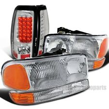 For 2004-2006 GMC Sierra 1500 Headlights+Bumper Signal Lamps+LED Tail Lights
