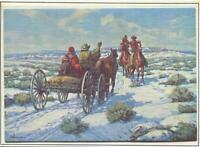 VINTAGE CHRISTMAS COWBOY HORSES WAGON FAMILY CHILDREN PAUL SALISBURY ART CARD