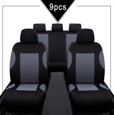 Universal 9Pcs Car SUV Seat Covers Set For Auto Front + Rear Seat Headrests dj