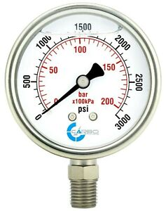 "2"" Pressure Gauge, Stainless Steel Case, Liquid Filled, Lower Mnt, 3000 PSI"