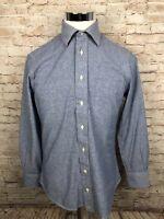 GITMAN BROS Blue Striped Mens Long Sleeve Button Front Shirt 15.5 / 33