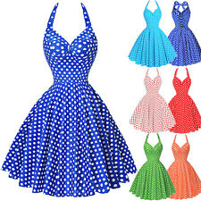 LADY Halter 40s 50s Retro PARTY Vintage Swing Work Pin Up Evening Dresses Skater