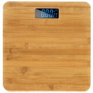 Digital Bathroom Scales Bamboo Wood Electronic Weighing Max 180KG + Battery
