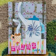 ORIGINAL ACEO Folk Art Coffee Tea Pot Kettle Cup Relax Still Life Collage Whimsy