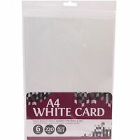 6 Sheets of Thick 220gsm Pure White Card Smooth Scrapbooking Craft School Paper