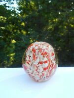Vintage Orange White Egg Studio Glass Paperweight