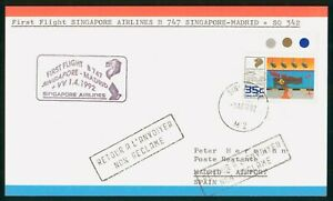 MayfairStamps 1992 to Madrid Spain Singapore Airlines Boeing 747 Singapore First