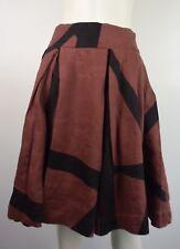 Banana Republic Rust Black Linen Full Pleated Skirt Size 10