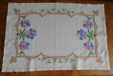 VINTAGE Linen embroidered rectangular tray cloth